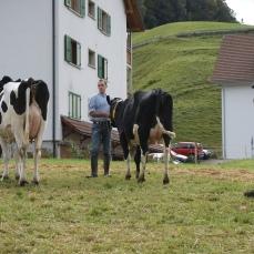 Beat wartet gespannt auf das Resultat in der Kategorie schönstes Euter. Unsere Kuh Hosianna hat es unter die ersten drei geschafft!